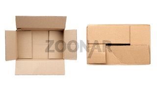 open and closed box made of brown corrugated cardboard