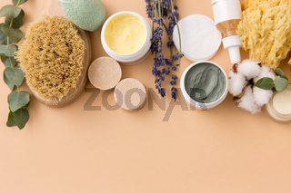 soap, brush, sponge, clay mask and body butter