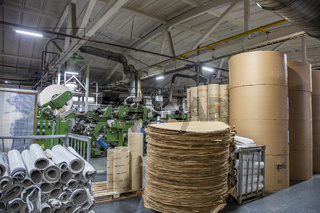 Industrial workshop of the factory for the production of cardboard packaging