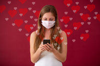 Caucasian woman dating online through internet during coronavirus pandemic.