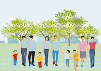 Leisure time with family in the park in spring