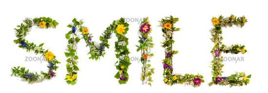 Flower And Blossom Letter Building Word Smile