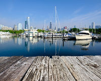 Urban marina and Chicago skyline