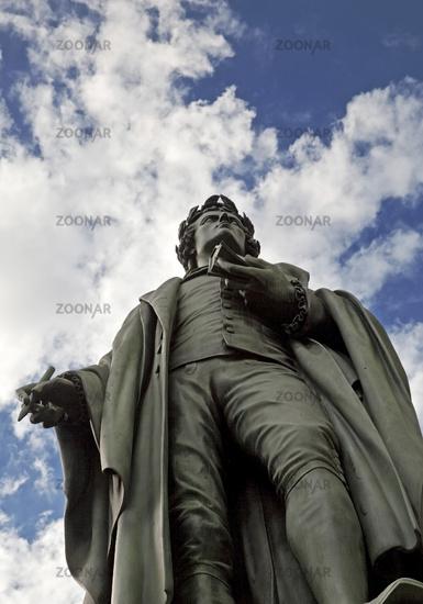 Schiller monument in the park of the Taunusanlage, Frankfurt am Main, Hesse, Germany, Europe