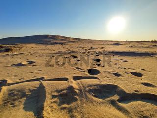 Sand wave dune under the setting sun.