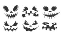 Collection of Halloween pumpkins Black and white carved faces silhouettes.