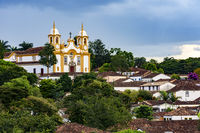 Church and cityscape of the old and famous city of Tiradentes in Minas Gerais