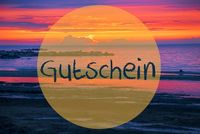 Sunset Or Sunrise At Sweden Ocean, Gutschein Means Voucher