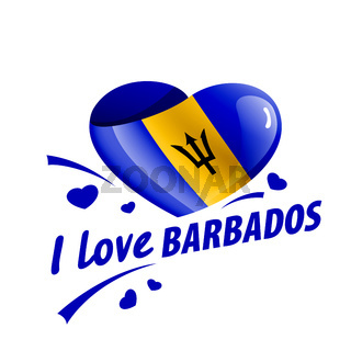National flag of the Barbados in the shape of a heart and the inscription I love Barbados. Vector illustration