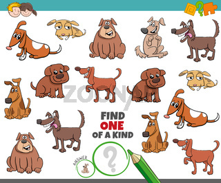 one of a kind game for kids with comic dogs