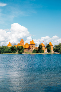 Trakai Island Castle and lake at summer in Lithuania