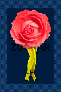 Rose bud and woman's beautiful legs in acid color tights and high heels shoes on a colorful background. Disco light, surreal art. Funny modern art collage in magazine style, pop art, zine culture.