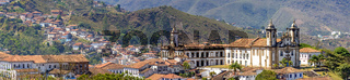 Panoramic view from the top of the historic center of Ouro Preto city