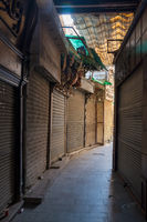 Historic Mamluk era Khan al-Khalili bazaar and souq, closed during Covid-19 lockdown, Cairo, Egypt