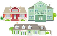 various family houses, wooden houses, country houses,