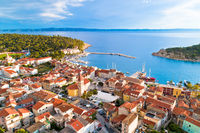 Makarska. Tourist city of Makarska waterfront aerial view