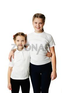 Little girls hugs isolated on white