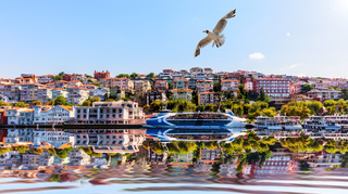 Bosporus harbour in Istanbul, beautiful view from the sea