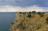 View from the top of the mountain towards the sea. Bad weather. Crimea.
