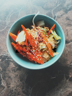 Vegetarian asian vegetable salad served in a bowl in japanese restaurant, healthy diet food