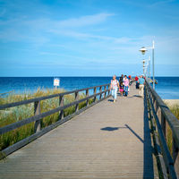 Holidaymakers on the pier of Bansin on the German Baltic coast on the island of Usedom
