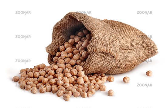 Chickpea spill out of the sack