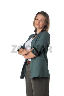 Business woman portrait on white