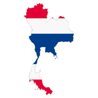 Thailand map on white background with clipping path