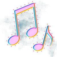 Bright colorful music note icon, sound media concept pictogram on white