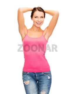 woman in blank pink tank top