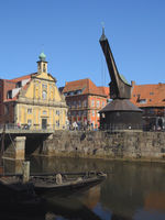 Lüneburg - Ilmenau Harbour with the Old Crane, Germany