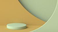 Green and brown abstract background with cylinder platform and arcs 3D