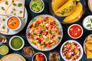 Mexican food. Many various dishes, shot from the top