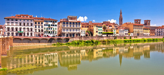 Arno river waterfront of Florence panoramic view
