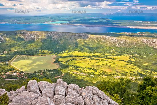 Vinodol valley and lake Tribalj view from Mahavica viewpoint