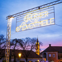 Sign at Advent market in Rust in Burgenland