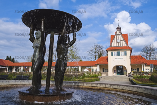 Fountain in front of  railway station, Bad Saarow