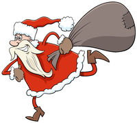 running Santa Claus Christmas character with sack of gifts