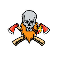 Bearded Skull Crossed Axe Cigar Mascot