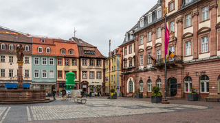 Market Square and Townhall in Downtown of City Heidelberg, Baden-Wuerttemberg, Germany. Europe