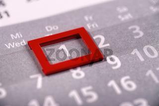 Der erste Tag eines Monats auf einem Kalender