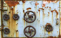 desolate former control unit with turning handles
