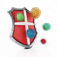 Colored viruses and shield isolated on white background. 3D illustration