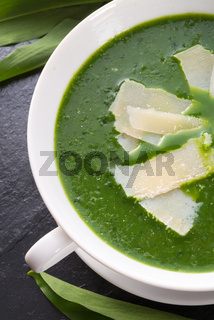 wild garlic soup with Parmesan