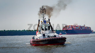 Large container ship arrives in Hamburg