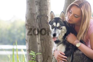 Girl loves her dog