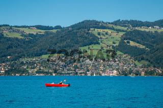 Thun lake and alps mountain village in Switzerland