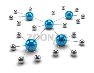 Metallic Spheres Linked Together 3D Illustration