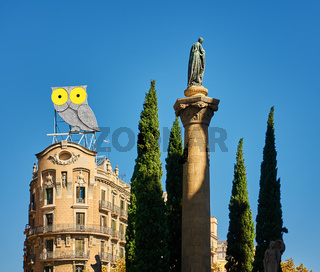 Owl statue in Barcelona, Spain