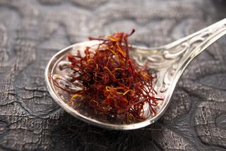 stigmas of saffron in spoon